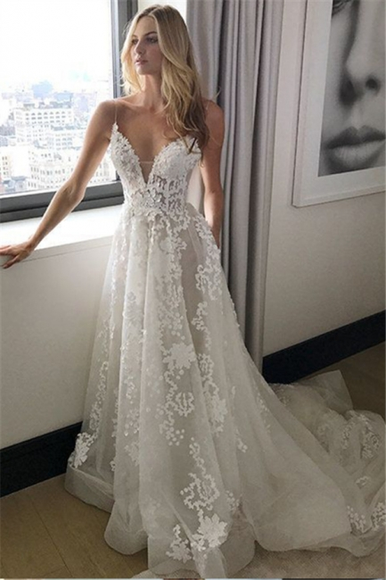 Extravagant Wedding Dresses Lace White Cheap A Line Wedding Dresses Online