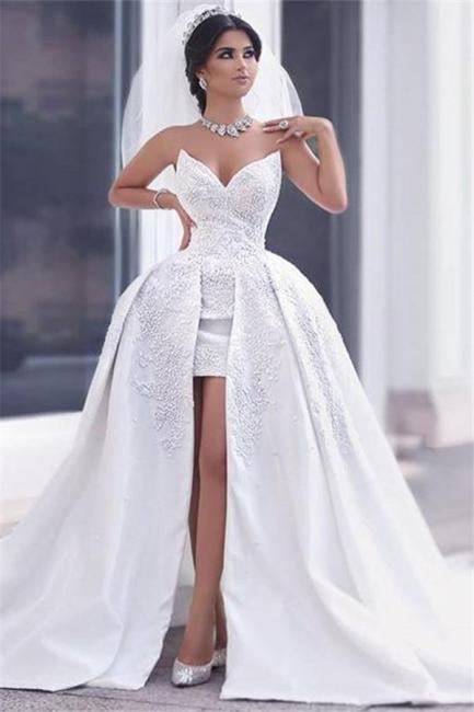 Duchesse-Linie Brautkleider Weiß Spitze Herz Schlepper Brautmoden Hochzeitskleider