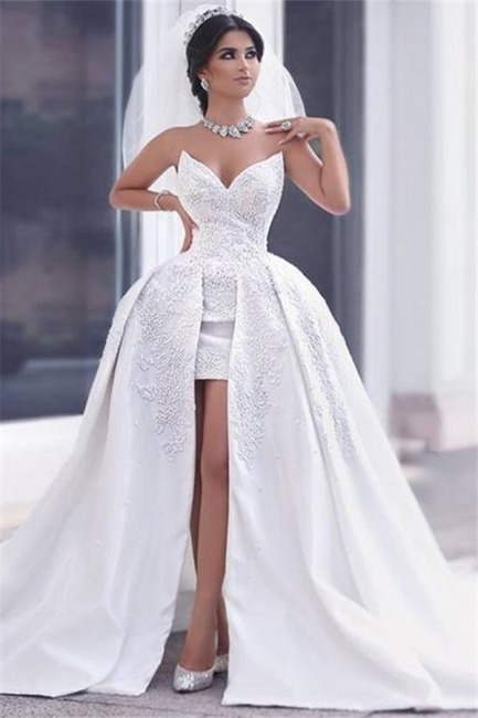 Ball Gown Wedding Dresses White Lace Heart Tug Bridal Wedding Dresses