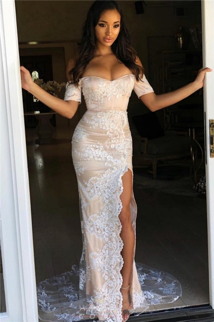 Designer White Evening Dresses With Sleeves | Prom dresses with lace online