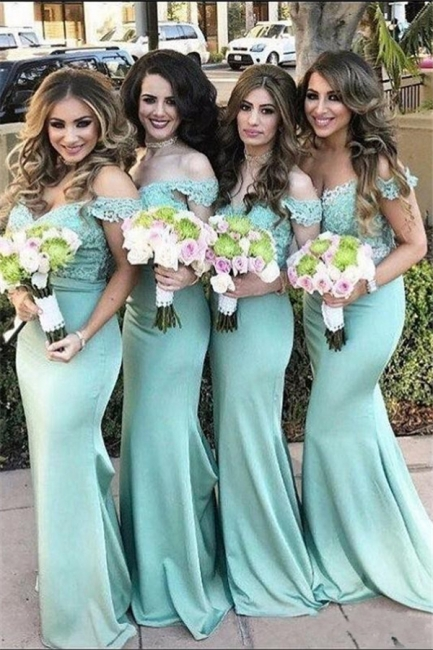 Mint Green Bridesmaid Dresses Long With Lace Mermaid Dresses For Bridesmaids
