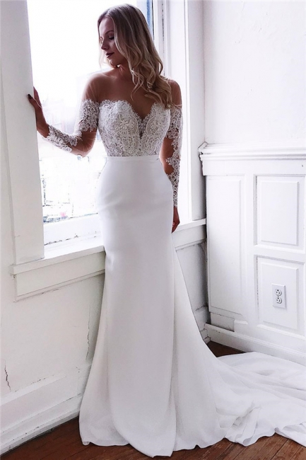 Designer Wedding Dresses With Sleeves | Wedding dress mermaid with lace