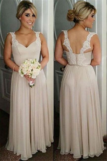 Schlichte Lange Brautjungfernkleider Chiffon Träger Kleider Für Brautjungfern