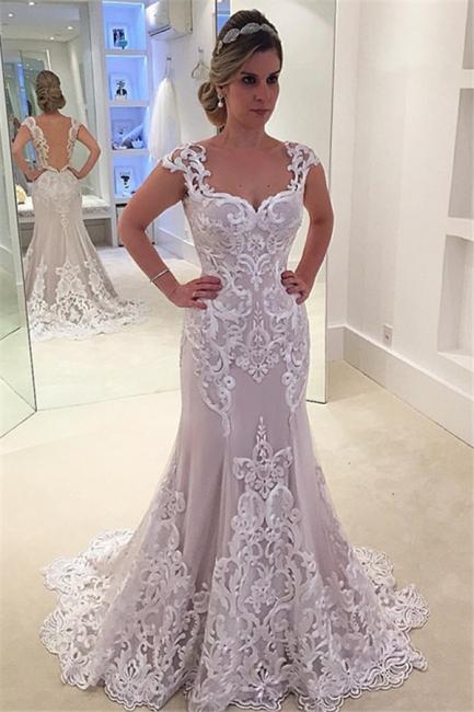 Designer Hochzeitskleider Weiß Spitze Meerjungfra Rückenfrei Brautkleider Online