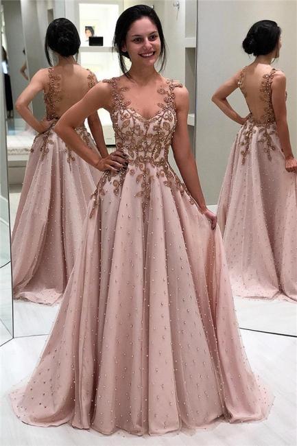 Elegant evening dresses long with straps | Pink prom dresses online