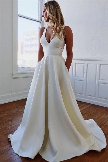 Elegant White Wedding Dress A Line | Simple wedding dresses online