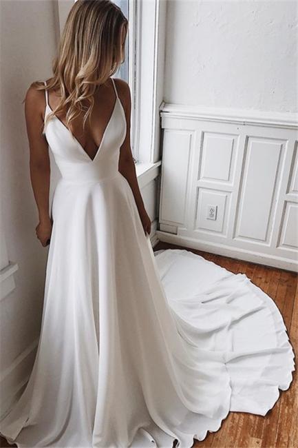 Modern wedding dress A line | White Backless Wedding Dresses Online