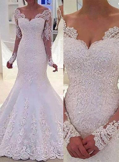 Lang Ärmel Brautkleider Weiß Spitz Meerjungfrau Rückenfrei Brautmoden Hochzeitskleider Nachmäßig