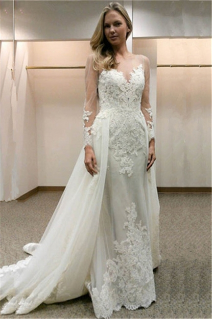 Designer Wedding Dresses With Sleeves A line lace wedding dress