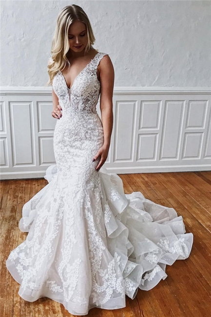Romantic wedding dresses with lace | White mermaid wedding dress online