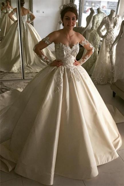 Creme Brautkleider Mit Ärmel A Line Satin Spitze Hochzeitskleider Online