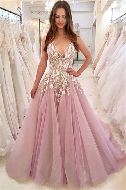 Pink Evening Dresses Long V Neck | Prom dresses with lace