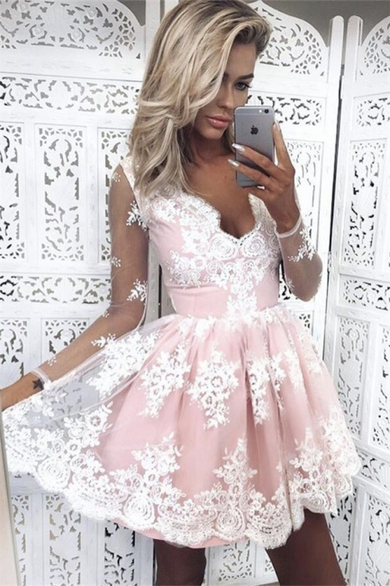 Pink Cocktail Dresses Prom Dresses With Sleeves A-Line Lace Evening Wear