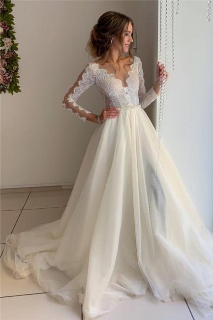 Elegante Hochzeitskleider mit Ärmel | Brautkleid A Linie Spitze