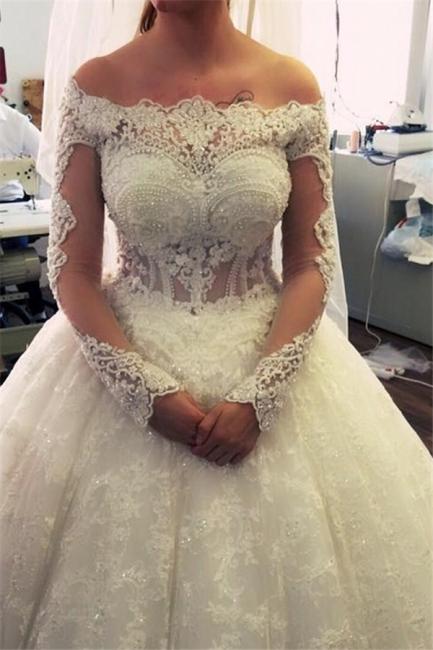 Luxury wedding dresses white lace princess wedding dress with sleeves