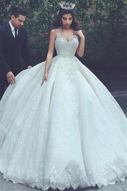 White Wedding Dresses With Lace Späghetti Princess Bridal Wedding Gowns
