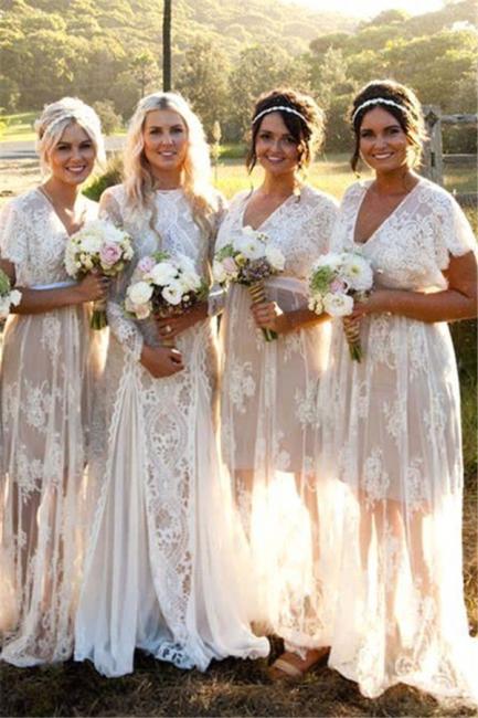 Weiß Brautjungfernkleider Lang Günstig Spitze Mit Ärmel Etuikleider Für Brautjungfern