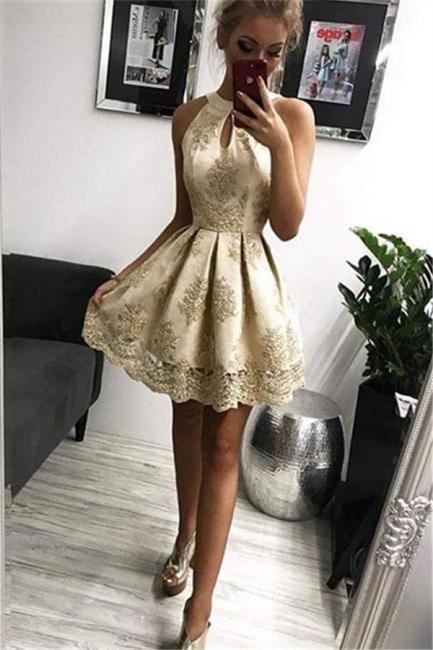 Elegant cocktail dresses short | Evening dresses gold with lace
