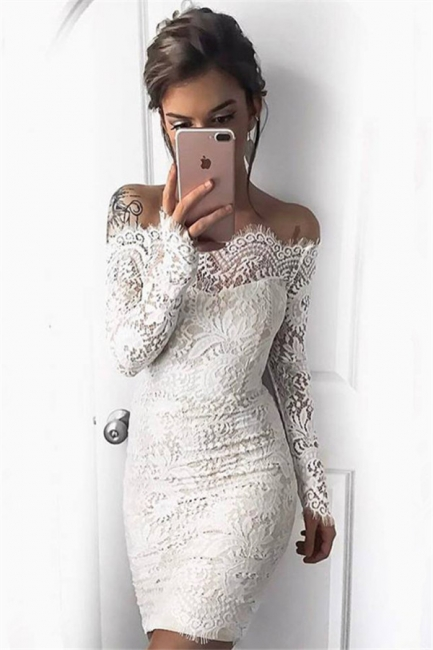 Cheap Cocktail Dresses With Sleeves Lace Mermaid Short Evening Dresses Under 100