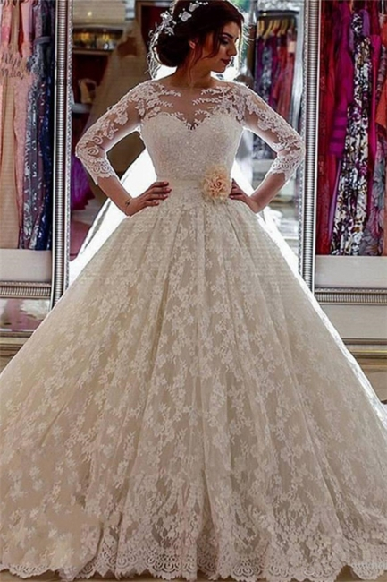 Long Sleeves Wedding Dresses White Lace With Train Princess Wedding Gowns Custom Moderate