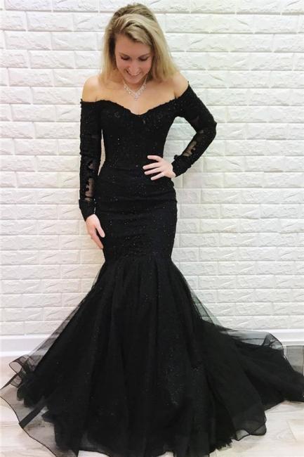 Elegante Abendkleider Lang Schwarz Spitze | Abiballkleider