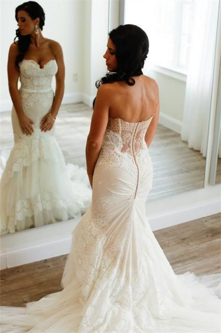 Elfenbein Brautkleider Mit Spitze Herz Meerjungfrau Hochzeitskleider Brautmoden
