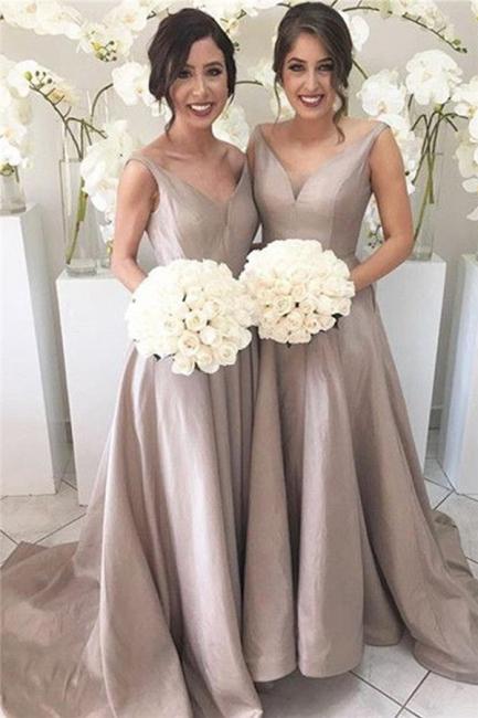 Bridal Long Bridesmaid Dresses Cheap Straps A Line Dresses For Bridesmaids
