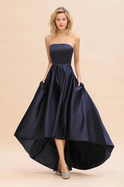 Schwarze Abendkleider Hi-lo | Schlichtes Abiballkleid Günstig