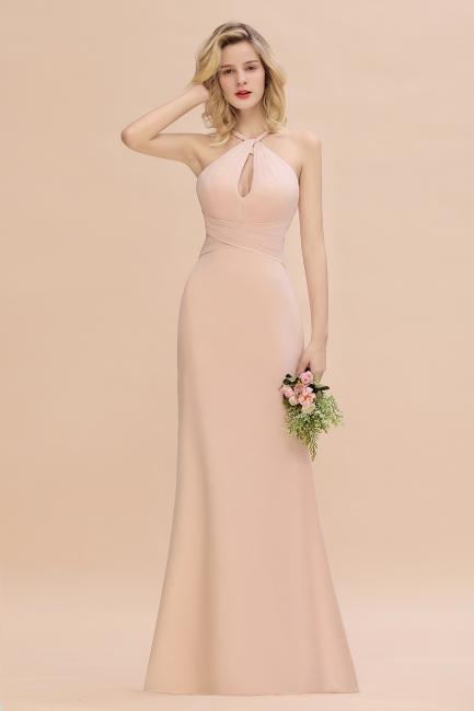 Peach Brautjungfernkleider Lang Chiffon | Kleider Für Brautjungfern