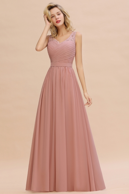 Simple bridesmaid dresses long chiffon | Pink dress for bridesmaids