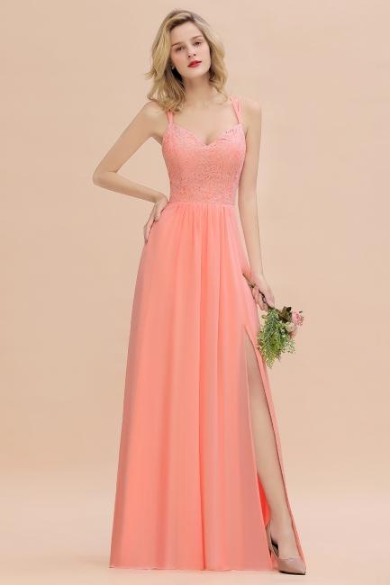 Coral Brautjungfernkleider Lang Günstig   Hochzeitsgäste Kleider