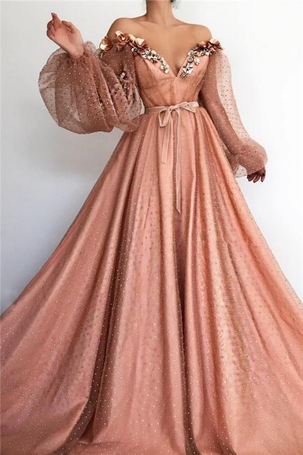 Wunderschöne Abendkleid Lang Rosa | Abiballkleider mit Ärmel
