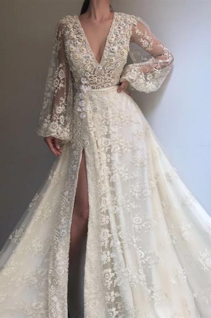 Evening dress long V neckline | Prom dresses white cheap