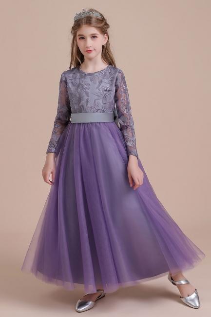 Purpur Blumenkinder Kleider Langarm | Blumenmädchen Kleid Tüll