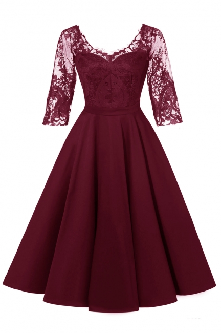 Lace dress Bordeaux red | Lace dress with sleeves
