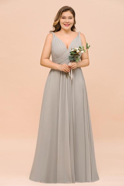 Silber Brautjungfernkleider Lang Große Größe | Brautjungfernkleid Günstig