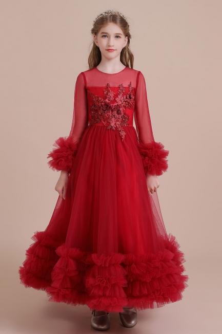 Blumenmädchen Kleid Rot | Blumenmädchen Kleid Langarm
