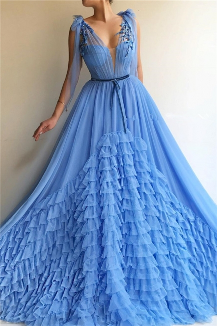 Elegant Evening Dresses Long V Neck | Prom dresses blue