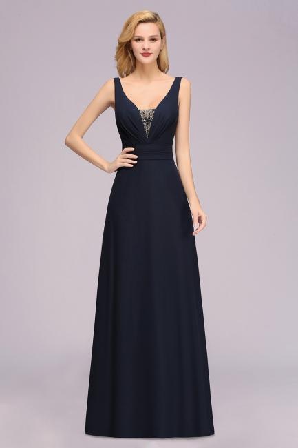Designer Brautjungfernkleider Lang Günstig | Navy Blaues Brautjungfernkleid