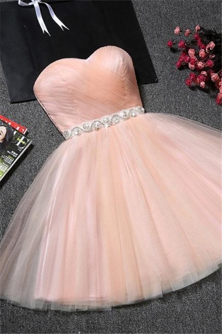 Pink Cocktail Dresses Short A Line Tulle Evening Dresses Party Dresses Cheap