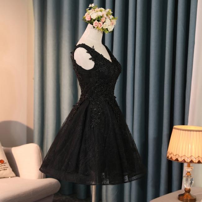 Simple Short Evening Dresses A Line Cocktail Dresses Short Black