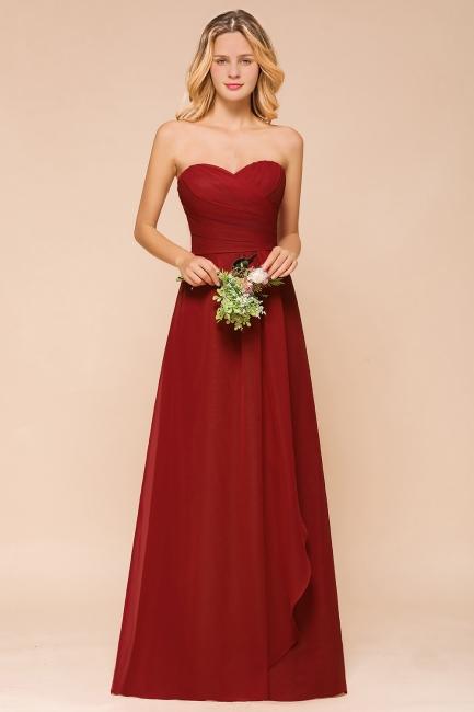 Brautjungfernkleider Lang Rot | Chiffon Kleider für Brautjungfern
