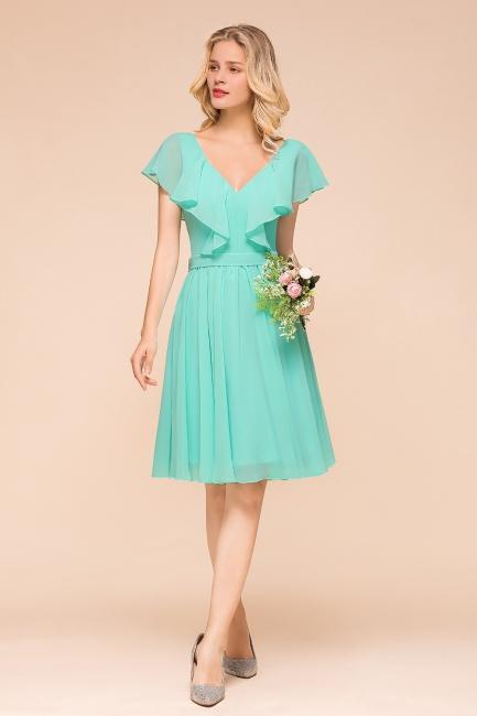 Brautjungfernkleider Kurz Mint Grün | Chiffon Kleider Günstig