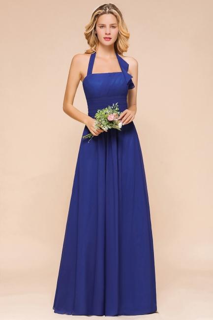 Känig Blau Brautjungfernkleider Lang Günstig   Hochzeitspartykleider Chiffon