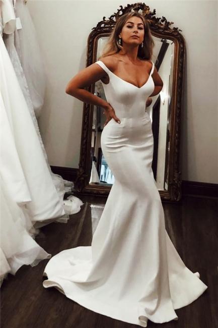 Schlichte Hochzeitskleider Satin | Brautkleider Meerjungfrau Online