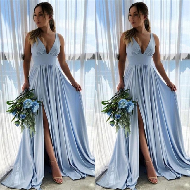 Blue Evening Dresses Long V Neck | Buy prom dresses online