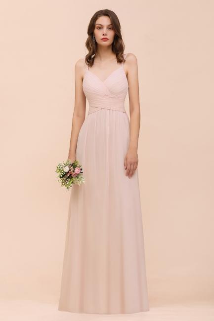 Peach Brautjungfernkleider Lang Günstig   Kleider Für Brautjungfern
