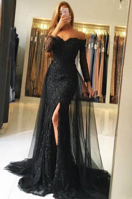 Fashion evening dress with sleeves | Black Evening Dresses Long Lace