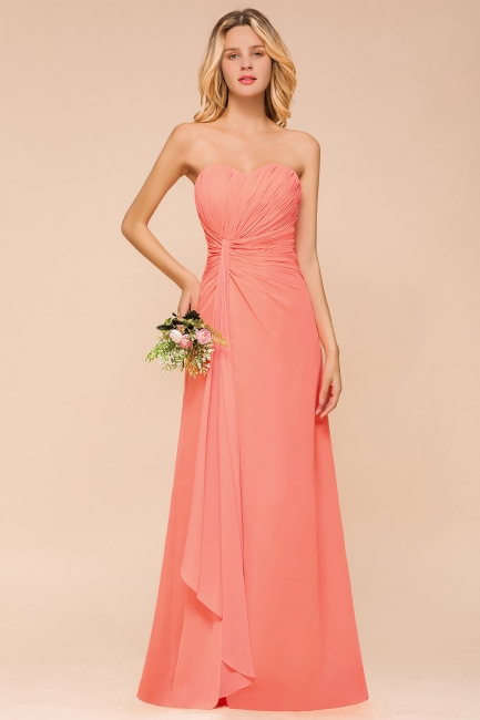Coral Brautjungfernkleider Lang Chiffon | Kleider für Brautjungfern