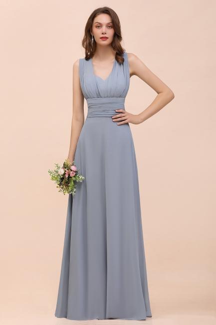 Günstige Brautjungfernkleider Grau | Brautjungfenrkleid Lang Chiffon